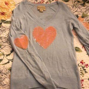 Wildfox sequin heart sweater
